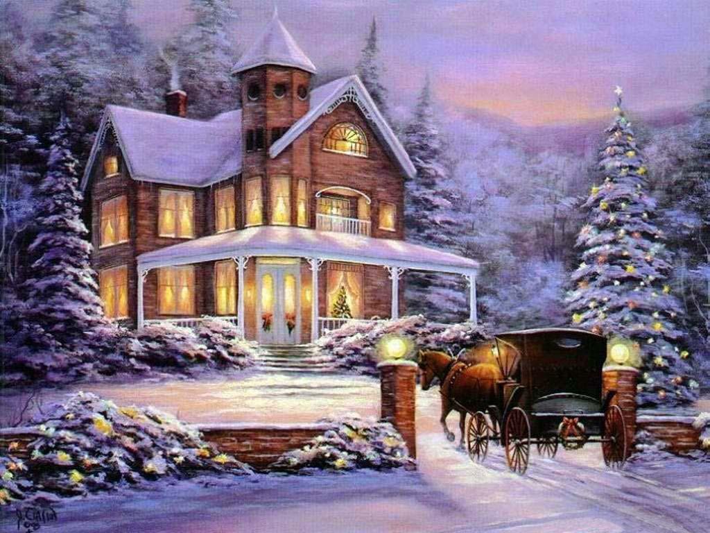 Новый год с домиком картинки